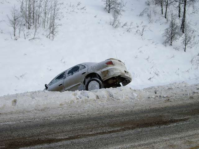 image of car in snow bank